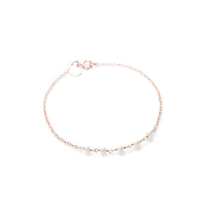 Applepear Handcrafted Jewelry - Strand Bracelet - Rose Gold with White Freshwater Pearl