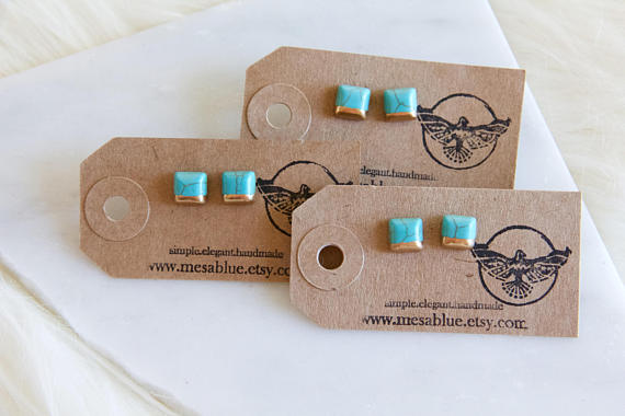 Mesa Blue - Square Turquoise, Hand Gilded, Tiny, Post Earrings, Square Studs