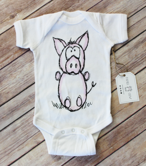 Paper Cow  - Charlie Pig White Bodysuit