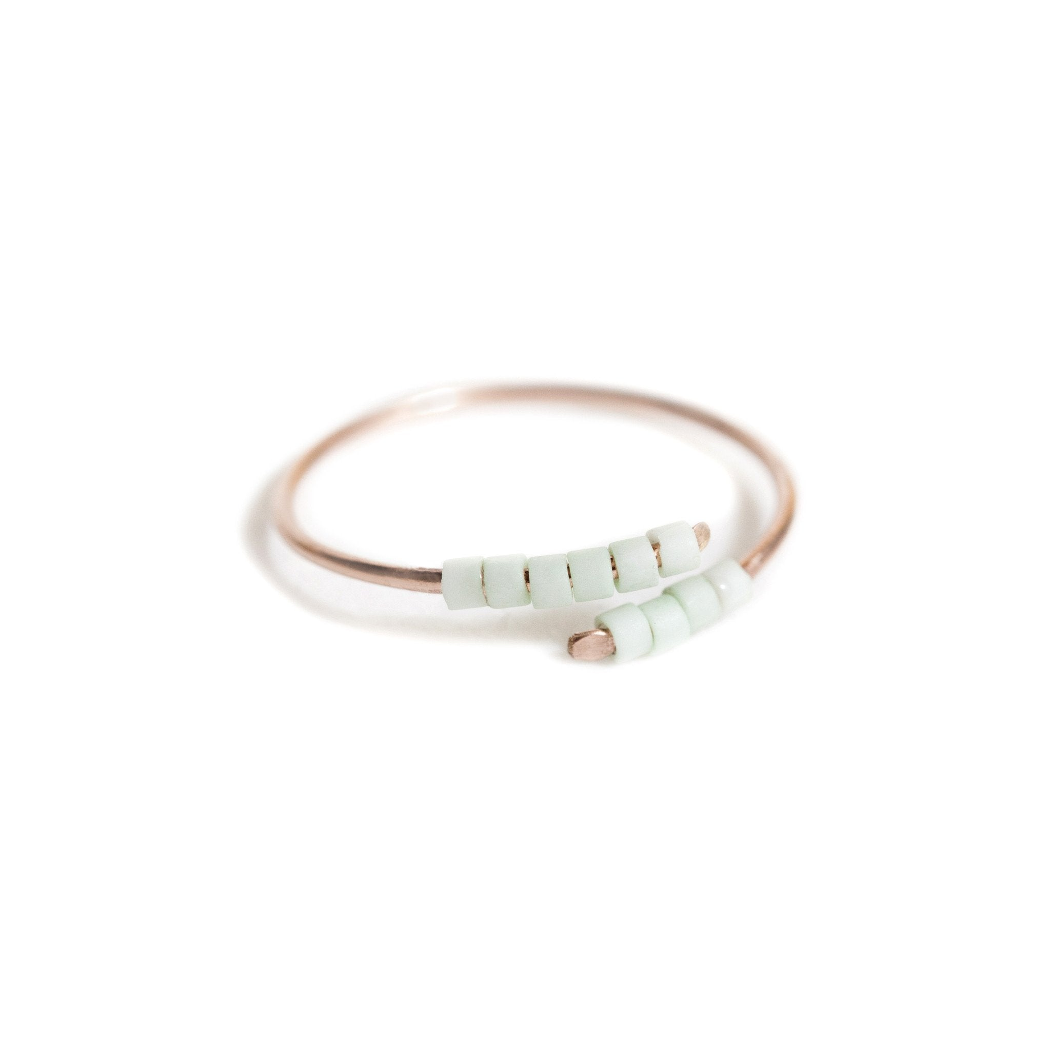 Applepear Handcrafted Jewelry - Baton Ring - Rose Gold & Mint