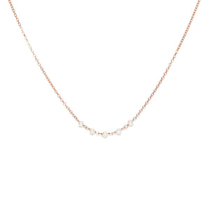 Applepear Handcrafted Jewelry - Strand Necklace - Rose Gold with White Freshwater Pearl