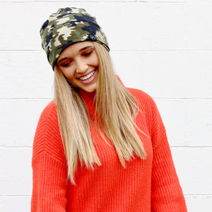 Pretty Simple - Green Camo Peek-a-Boo Beanie