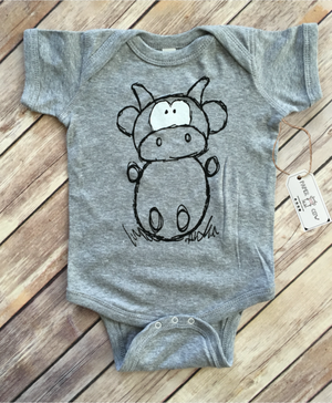 Paper Cow  - Betsy Cow Heather Grey Bodysuit