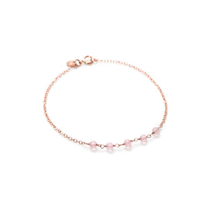Applepear Handcrafted Jewelry - Strand Bracelet - Thin Rose Gold Bracelet with Rose Quartz