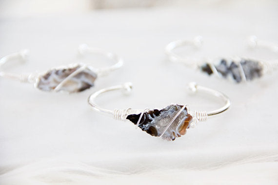 Mesa Blue - Geode Slice, Wire Wrapped Bracelet, Silver
