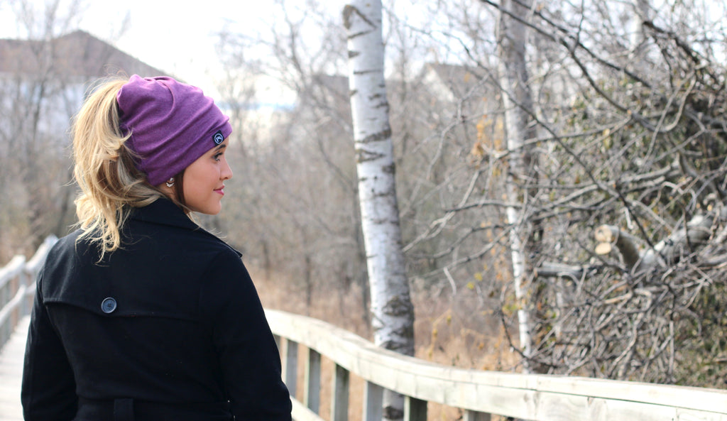 Pretty Simple - Plum Peek-a-Boo Beanie