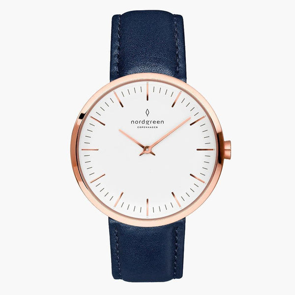 Infinity - Rose Gold | Navy Blue Leather