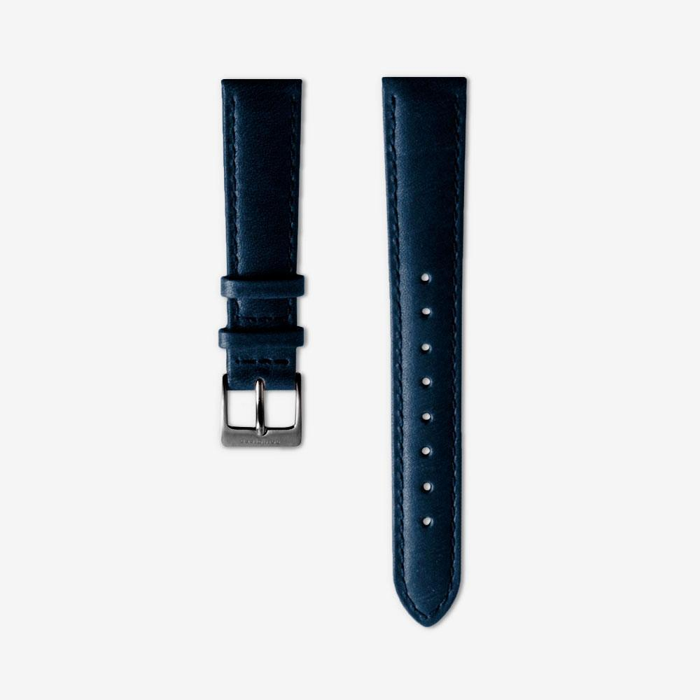 Navy Blue Leather Watch Strap - Gun Metal (40mm Philosopher)