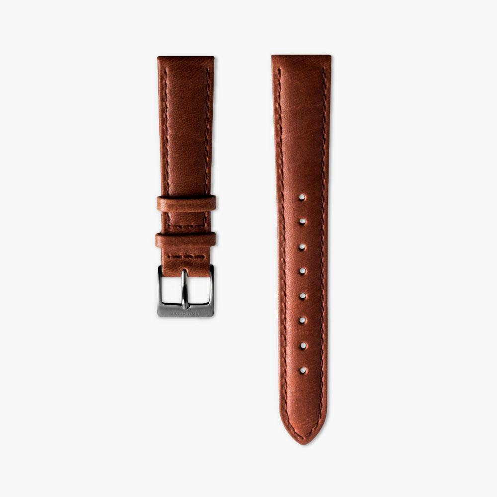 Brown Leather Watch Strap - Gun Metal | 18mm | Philosopher