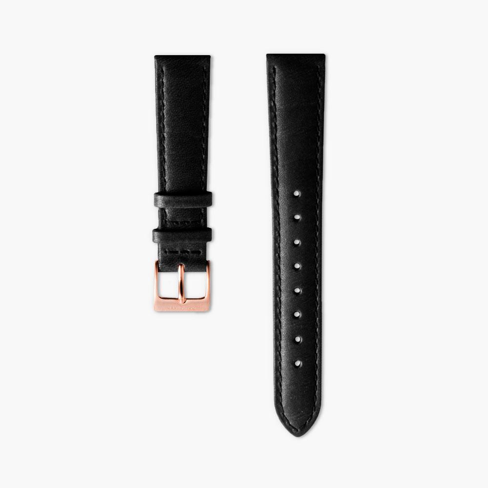 Black Leather watch Strap - Rose Gold (40mm Native)