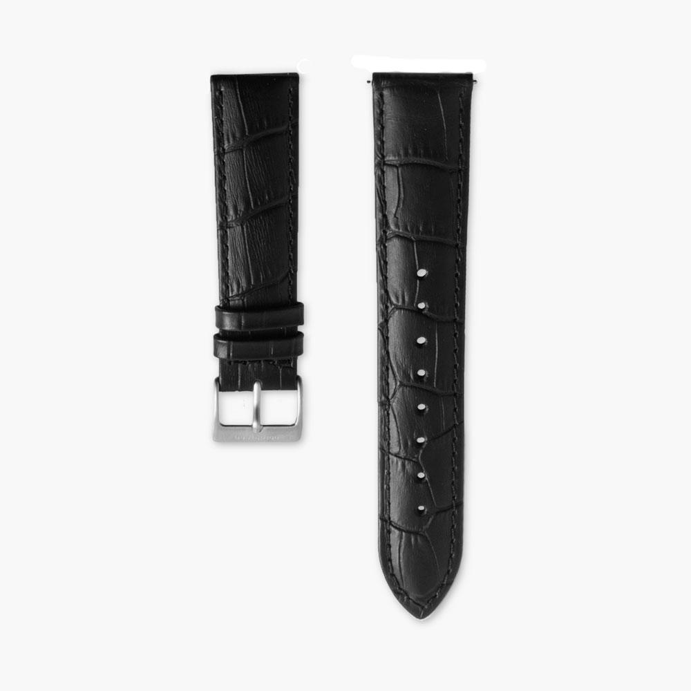 Black Croc Leather Watch Strap - Silver (40mm Philosopher & Infinity)