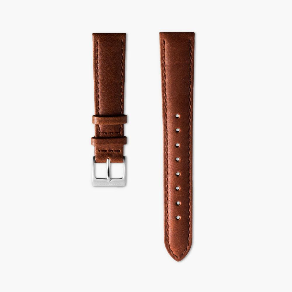 Brown Leather Watch Strap - Silver (36mm Philosopher)