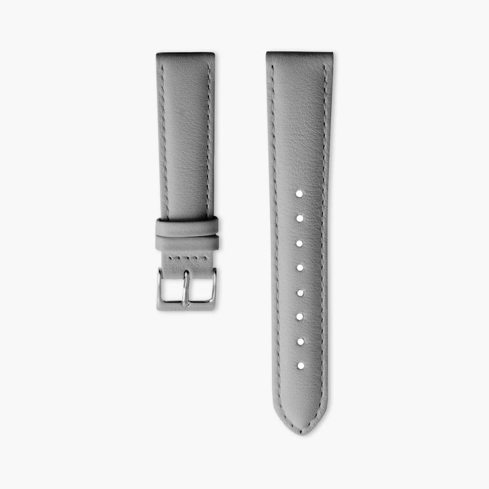 Grey Leather Watch Strap - Silver (36mm Philosopher)