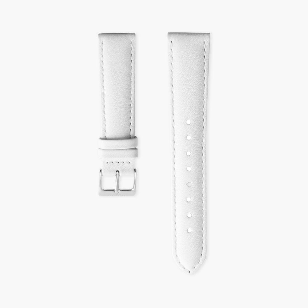 White Leather Watch Strap - Silver (36mm Philosopher)