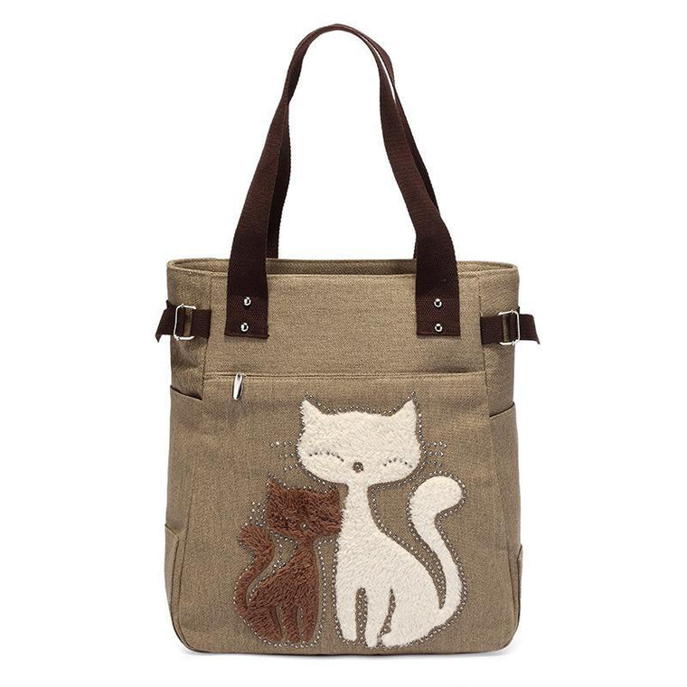 Casual Cute Cat Large Capacity Canvas Handbag Shoulder Bag Totes