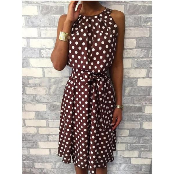 Polka Dot Sleeveless Belted Casual Dress