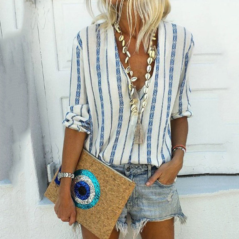 Bohemian Striped V Neck Shift Blouses