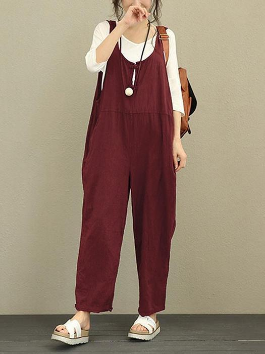 Vintage Solid Frog Button Loose Women Sleeveless Jumpsuits