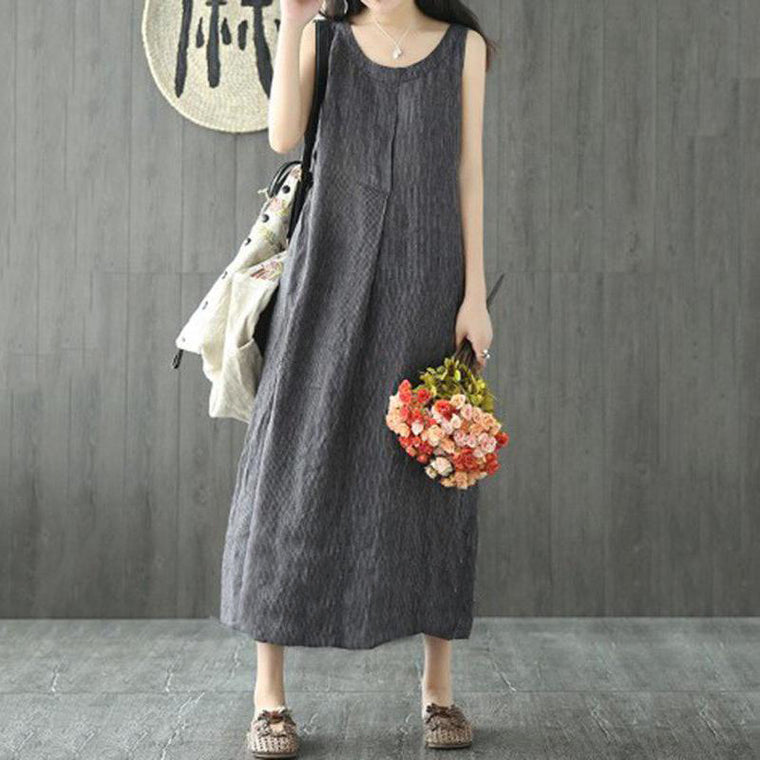 Plus Size Casual Cotton Linen Striped Maxi Dress