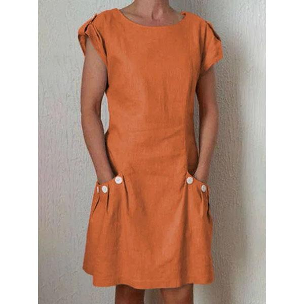 incredible prices superior performance high quality Summer Pockets Buttoned-decor Shift Linen Plus Size Dresses