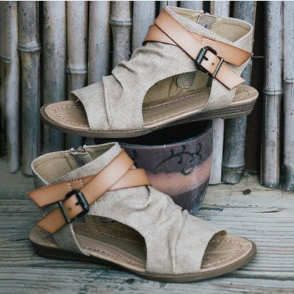 Women's Plus Size Denim Cloth Adjustable Buckle Sandals