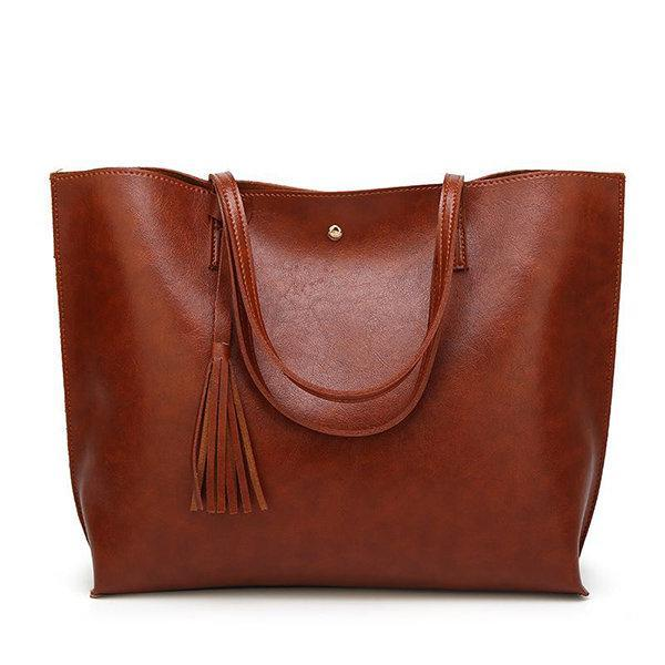 Women Casual Large Capacity PU Leather Handbag Classic Tote a0df7d80852c1