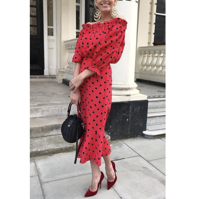 Red Off Shoulder Wave Point Long Sleeves Maxi Dress