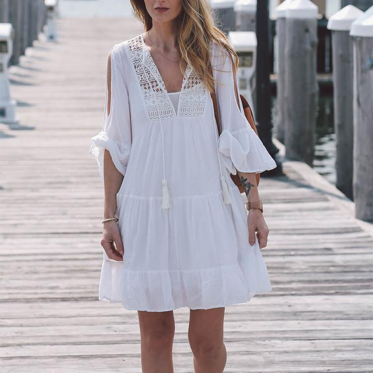 V Collar Ruffled Beach Vacation Dress