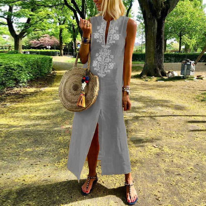 Casual Cotton Line Sleeveless Embroidery V-Neck Maxi Dress