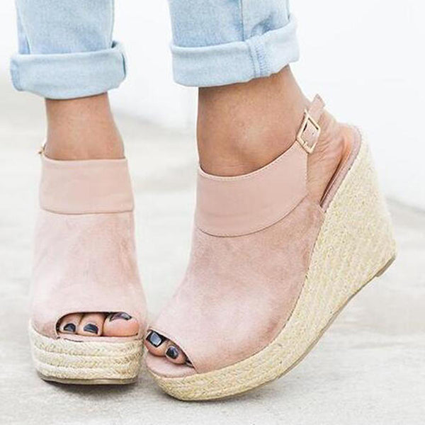 Plain Peep Toe Wedge Sandals
