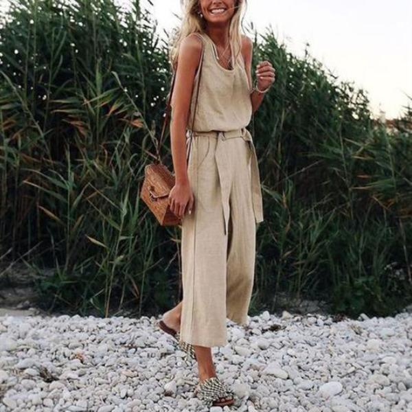 Fashion Khaki Sleeveless Vintage Jumpsuits