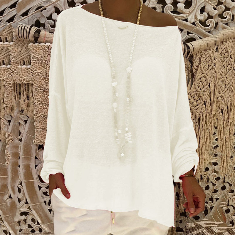Casual Solid Loose One Shoulder Blouses