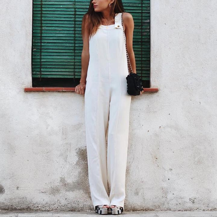 Fashion Plain Sleeveless Jumpsuit