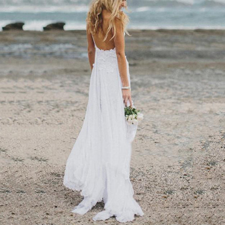 Casual Sexy Deep V Neck Backless Lace Maxi Dresses