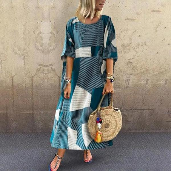 Casual Round Neck Batwing Sleeve Contrast Color Dress