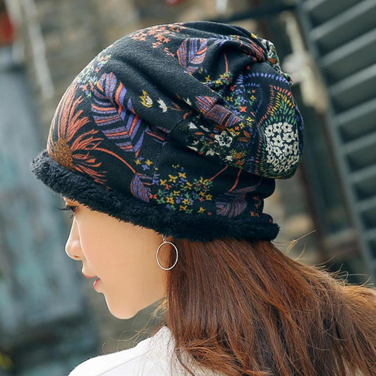 Women Warm Plus Velvet Thicken Beanie Hat Collar Cashmere Fashion Painting Hat
