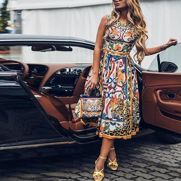 Elegant Sleeveless Printed Dresses