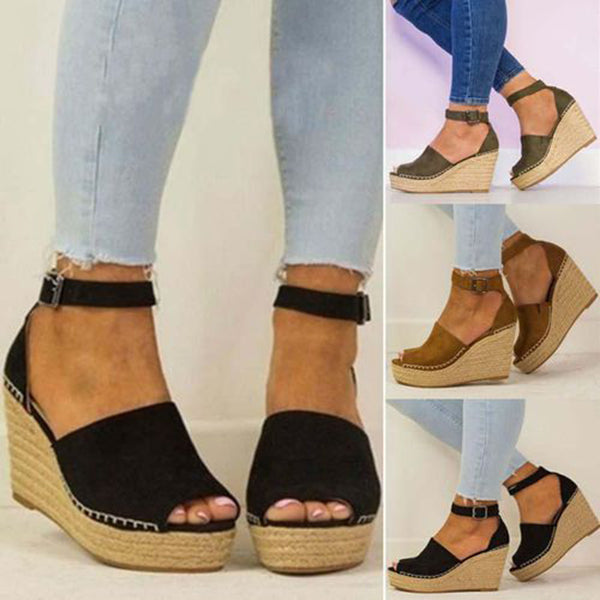 Casual Espadrille Ankle Strap Buckle Wedge Sandals