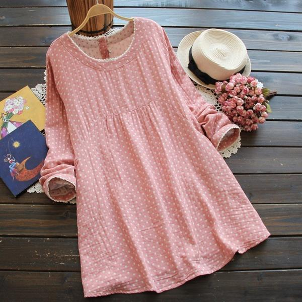 Plus Size  Long-sleeved O-Neck Cotton&Linen Lace Dress