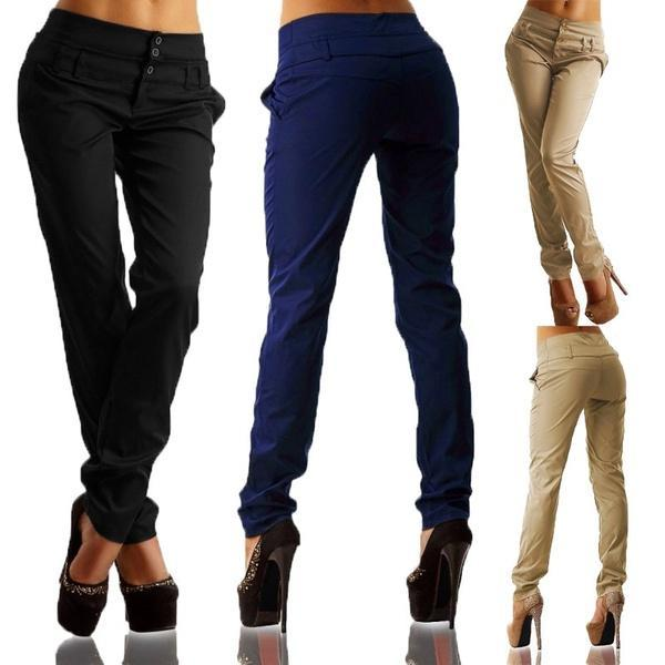 Women Slim Buttons Leggings Pencil Long Pant