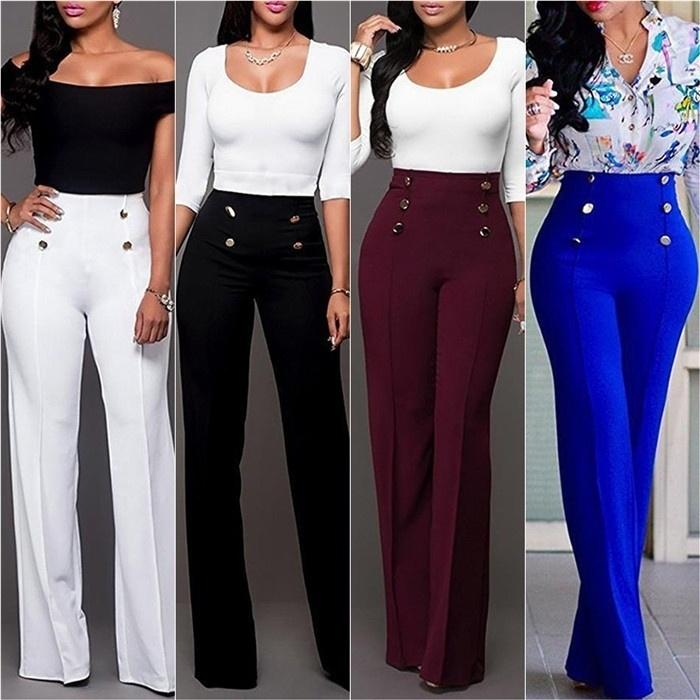 Women Fashion Straight Leg Pants Strech High Waist Trousers