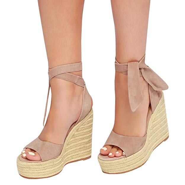 Espadrille Wedge Peep Toe Lace Up Sandals