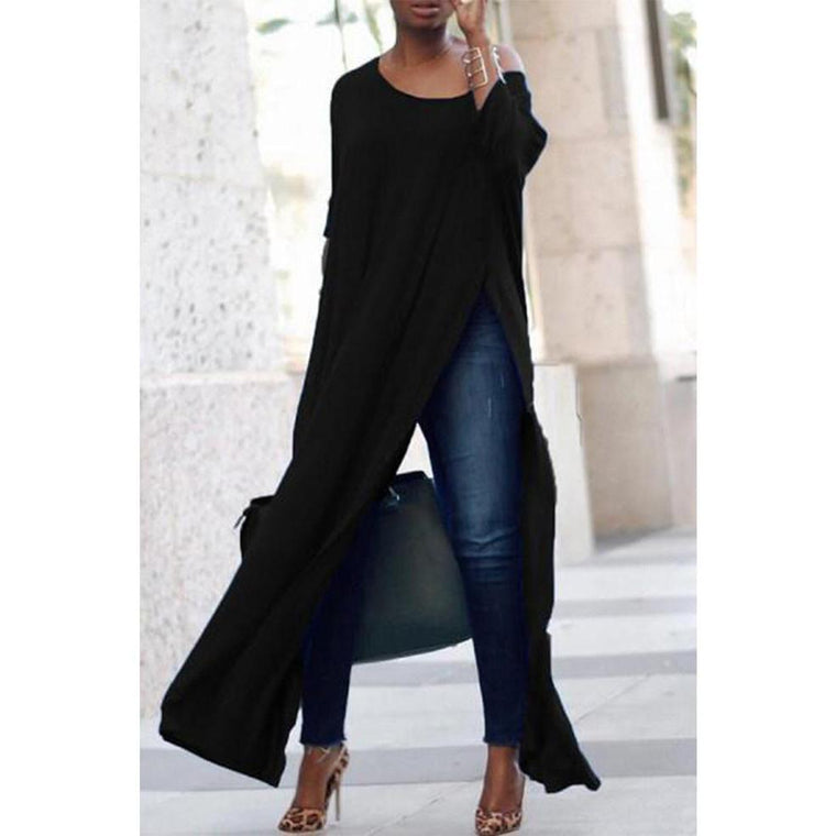 Scoop Neck Side Vented Plain T-Shirt Casual Dress
