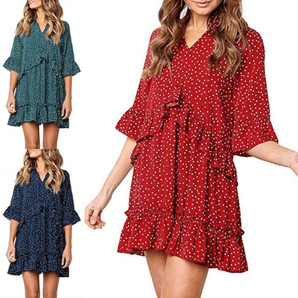 V Neck Ruffle Dot Mini Dresses