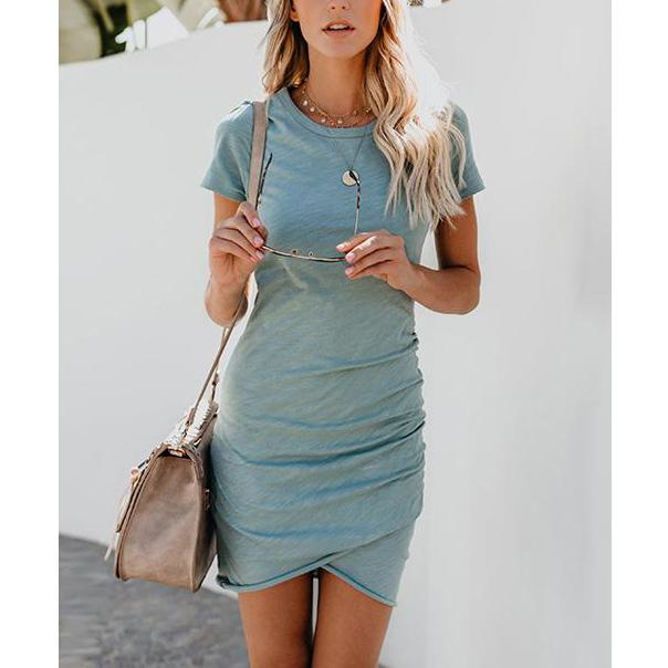 Round Neck Irregular Short Sleeve Dress