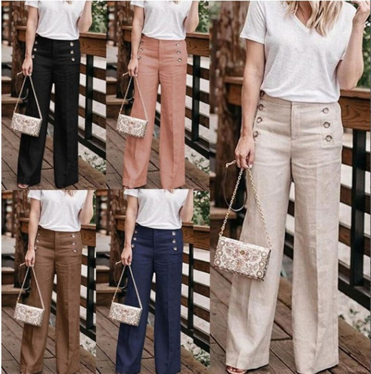 Women Casual Buttoned High Waist Wide Leg Pants