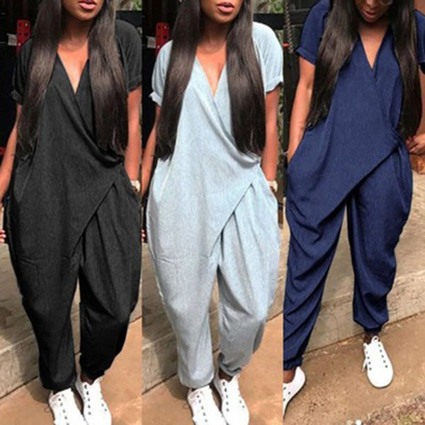 Loose Casual Solid V Neck Jumpsuit