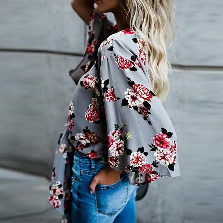 Gray V Neck Cotton 3/4 Sleeve Floral 2019 Lady's Blouses