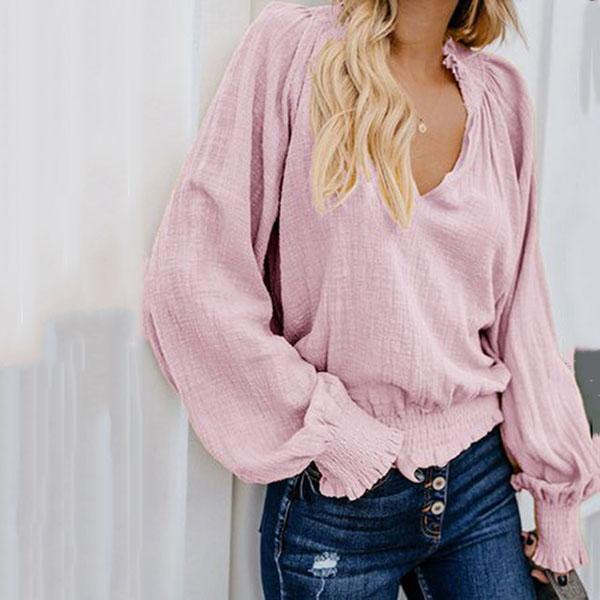 Lantern Sleeve V Neck Blouse