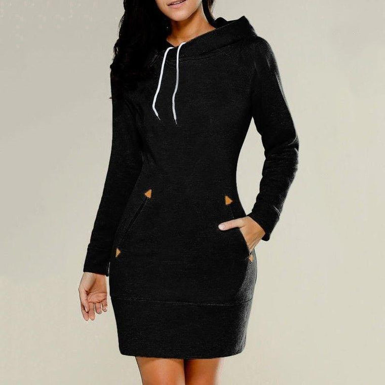 Women Casual Hooded  Zipper Pullovers Sweatshirt &Dress